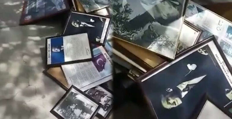 Skandal olay! Atatürk posterleri çöpe atıldı