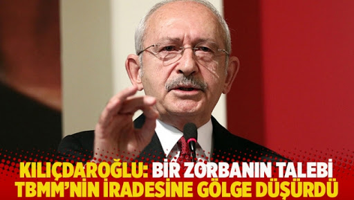 """""""Bir zorbanın talebi Türkiye Büyük Millet Meclisi'nin iradesine gölge düşürdü"""""""