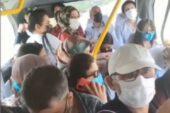 Bursa'da toplu taşımada izdiham